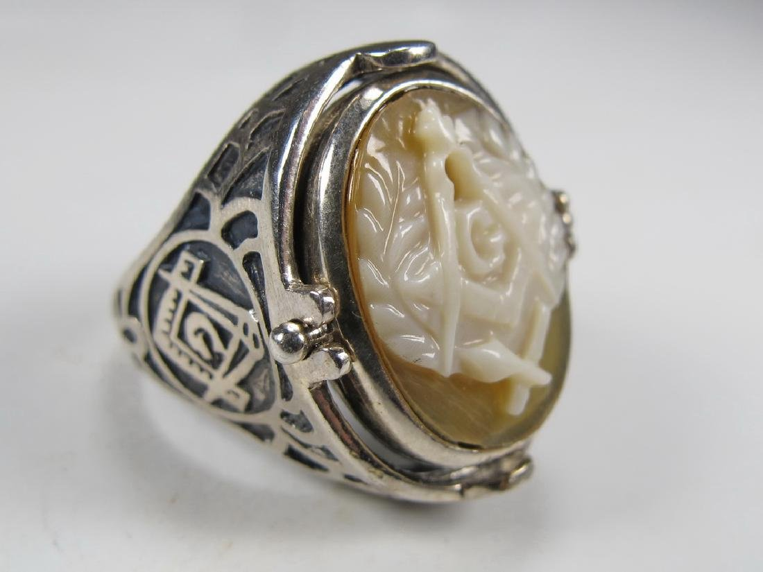 Vintage Masonic sterling 925 cameo & stone men's ring