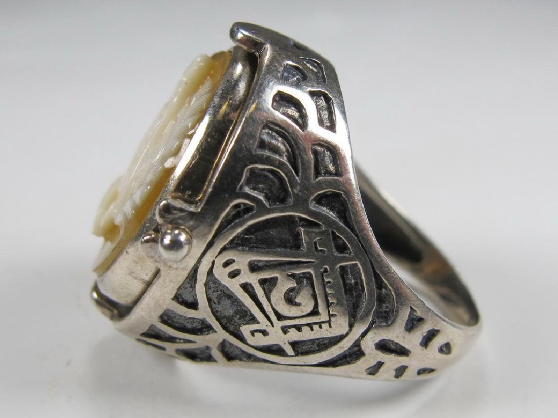 Vintage Masonic sterling 925 cameo & stone men's ring - 3