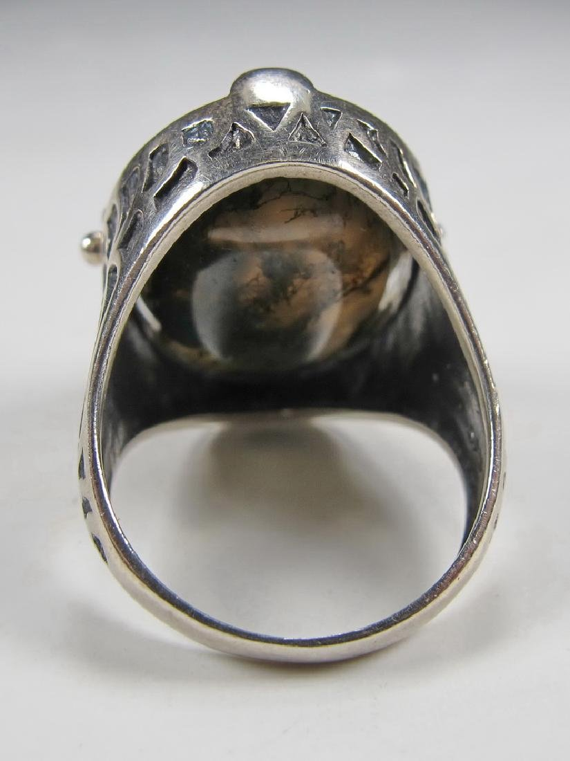 Vintage Masonic sterling 925 cameo & stone men's ring - 4