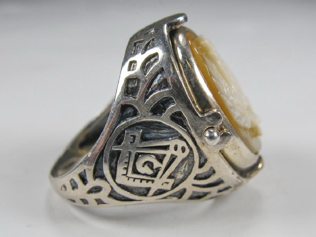 Vintage Masonic sterling 925 cameo & stone men's ring - 5