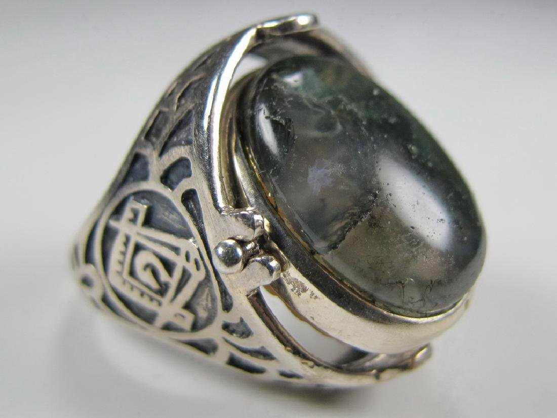 Vintage Masonic sterling 925 cameo & stone men's ring - 6