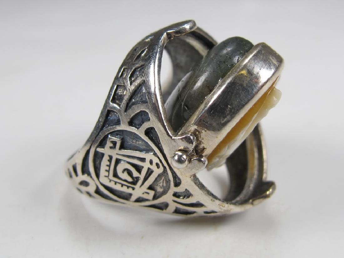 Vintage Masonic sterling 925 cameo & stone men's ring - 7