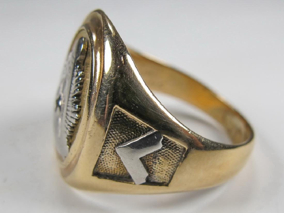 Vintage 10K gold & diamond Masonic men's ring - 3