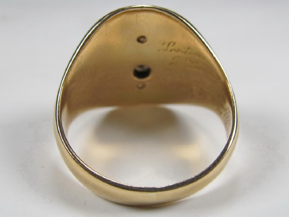 Vintage 10K gold & diamond Masonic men's ring - 4