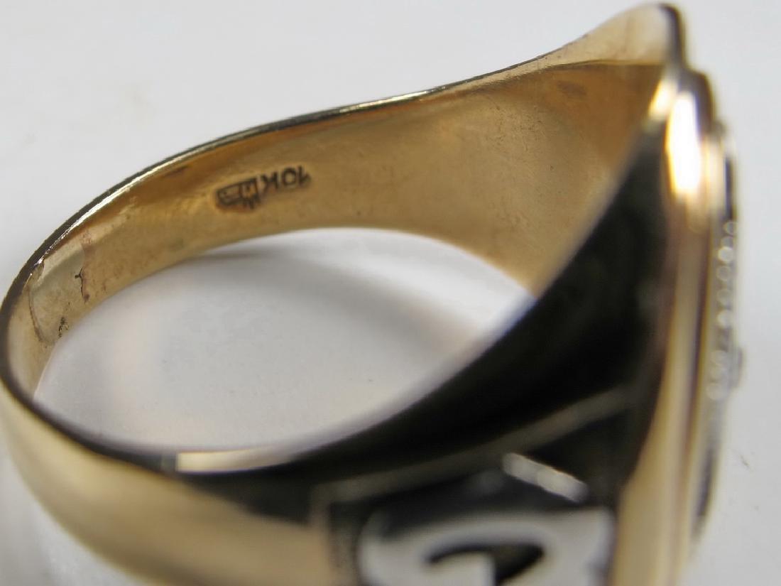 Vintage 10K gold & diamond Masonic men's ring - 5
