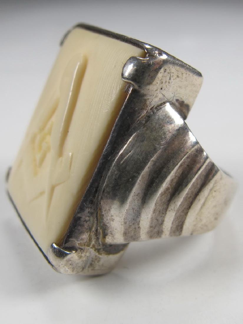 Antique silver Masonic men's ring - 2