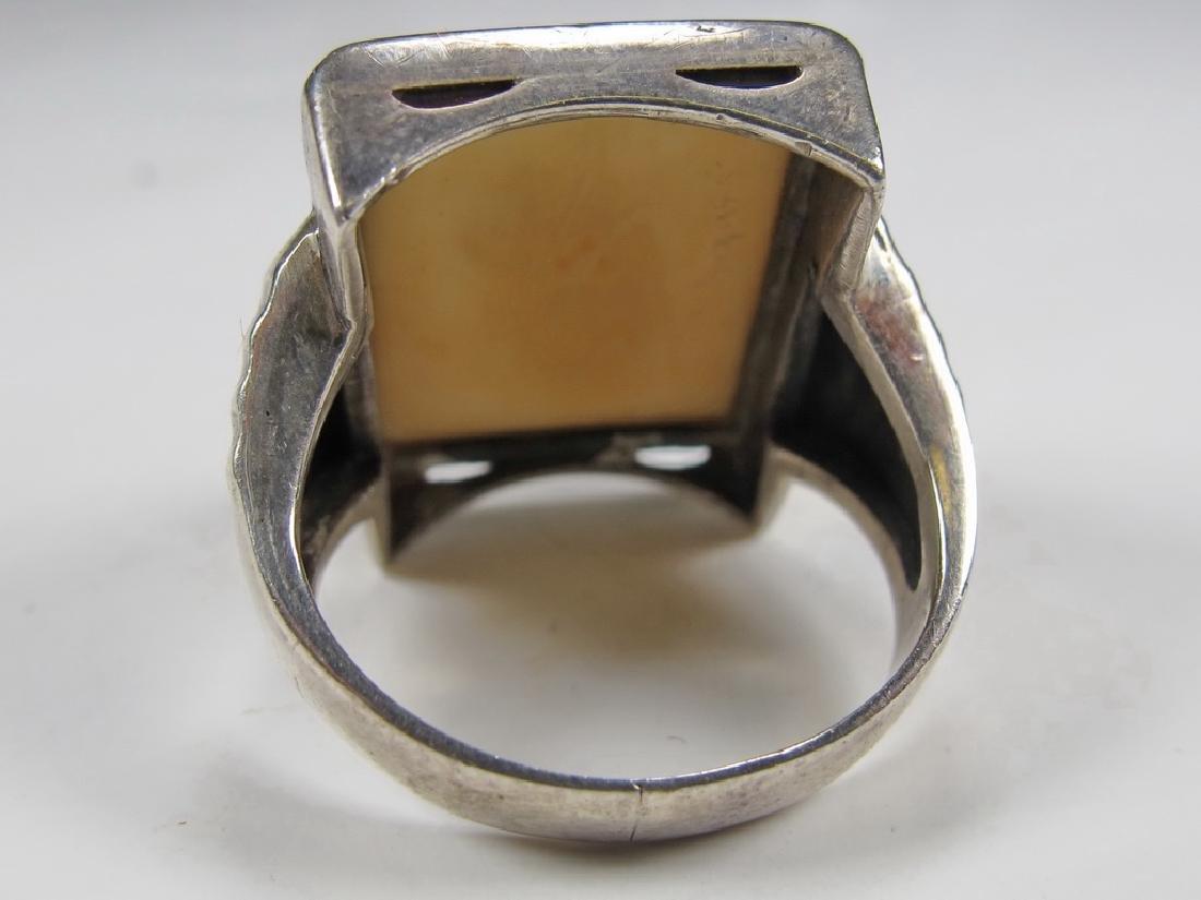 Antique silver Masonic men's ring - 3