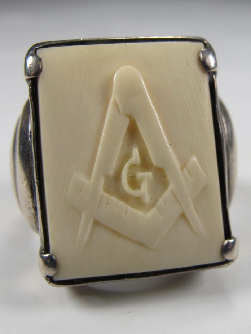 Antique silver Masonic men's ring - 5