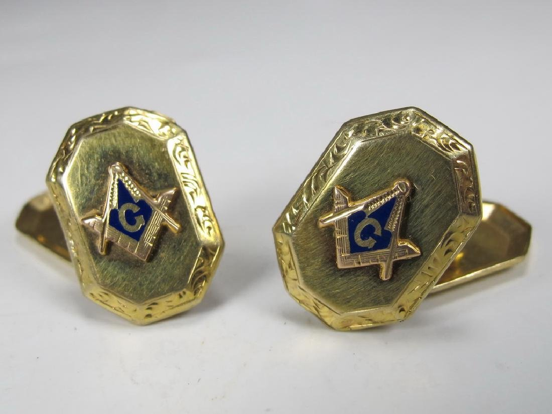 Antique pair of 10 k gold & enamel Masonic cufflinks