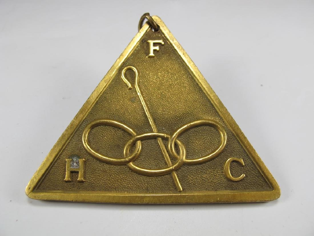 Antique bronze Masonic collar jewel - 3