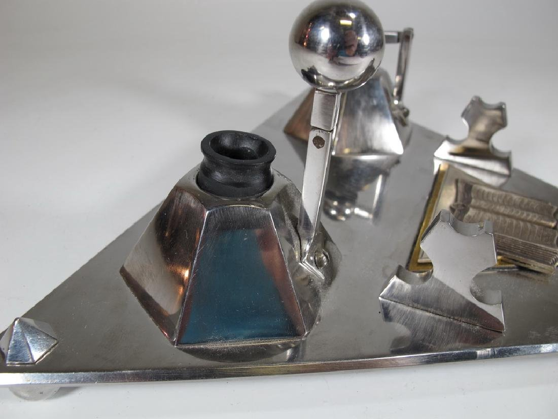Vintage English Masonic stainless & silver inkwell - 3