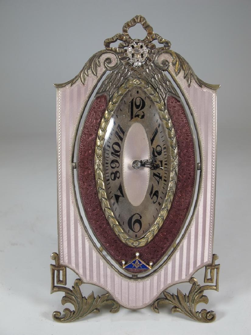 Marked JTC Masonic 935 silver & enamel clock