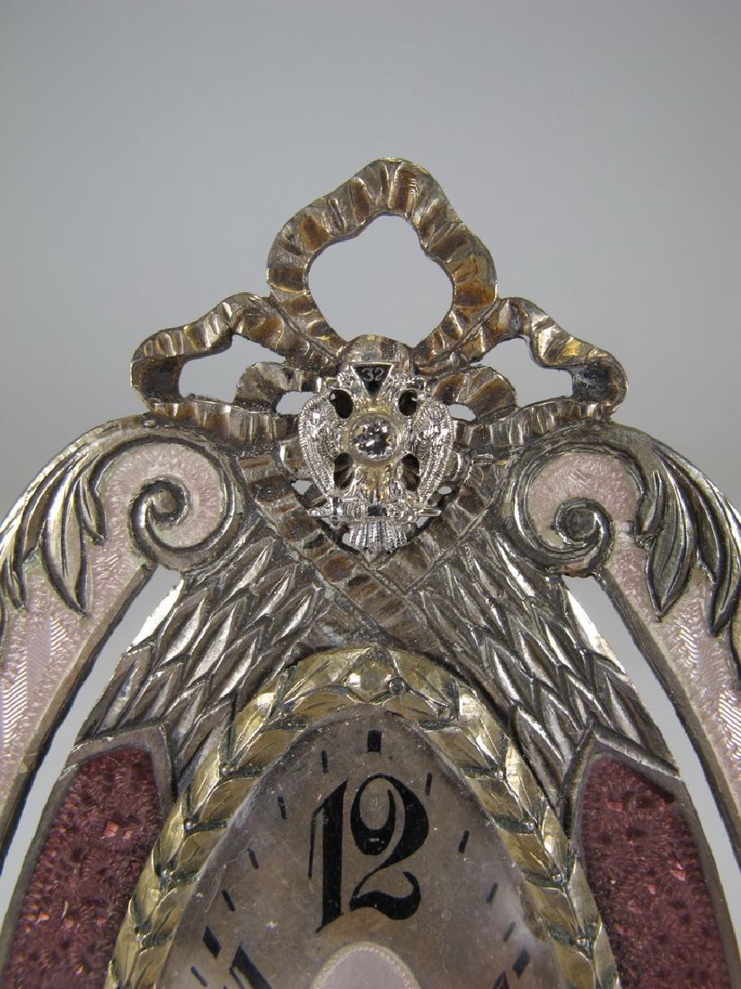 Marked JTC Masonic 935 silver & enamel clock - 2