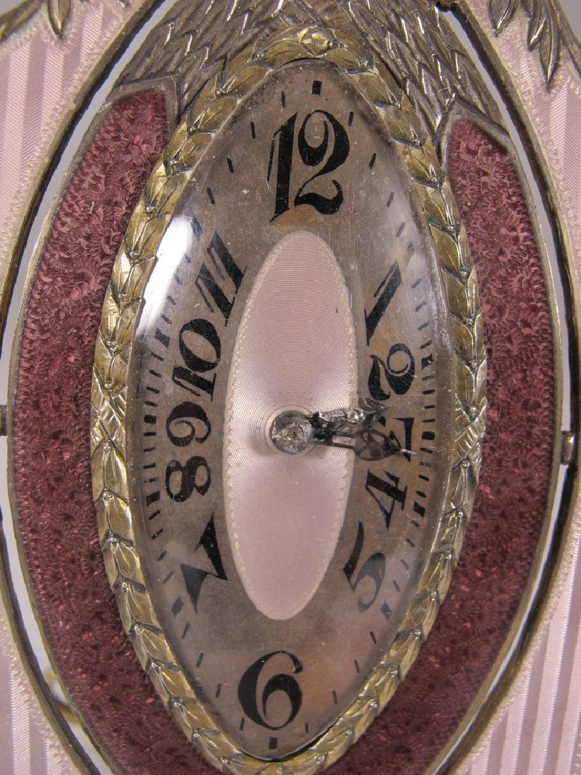 Marked JTC Masonic 935 silver & enamel clock - 3