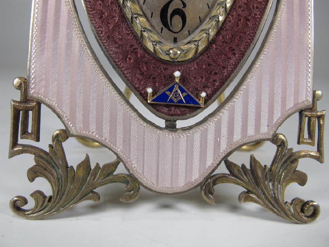 Marked JTC Masonic 935 silver & enamel clock - 4