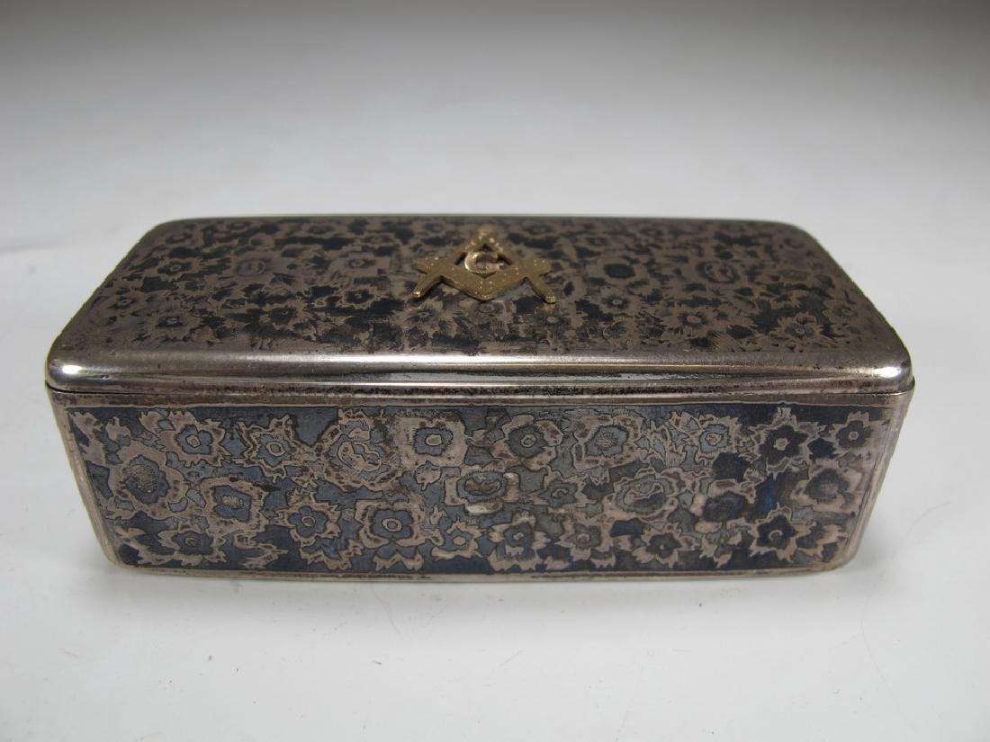 Antique Russian Masonic silver snuff box