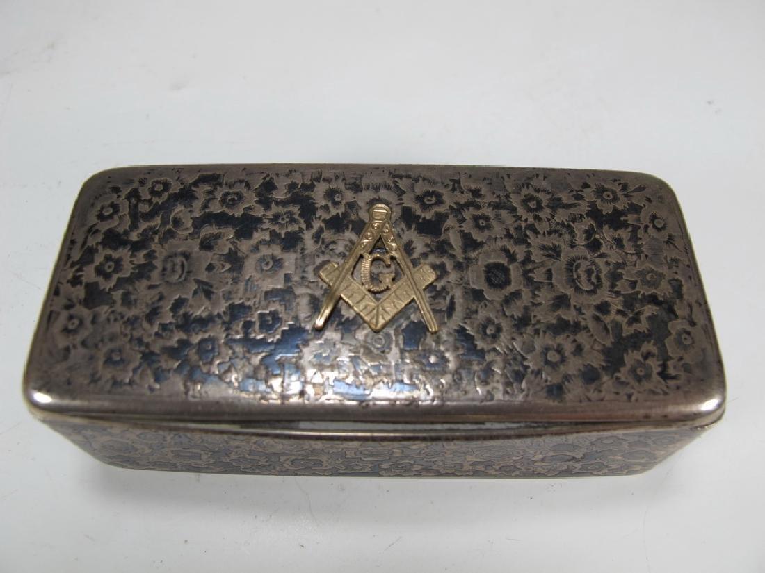 Antique Russian Masonic silver snuff box - 2