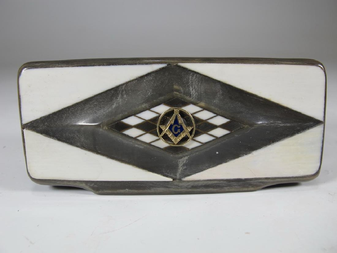 Antique Masonic horn & probably gold small box - 2