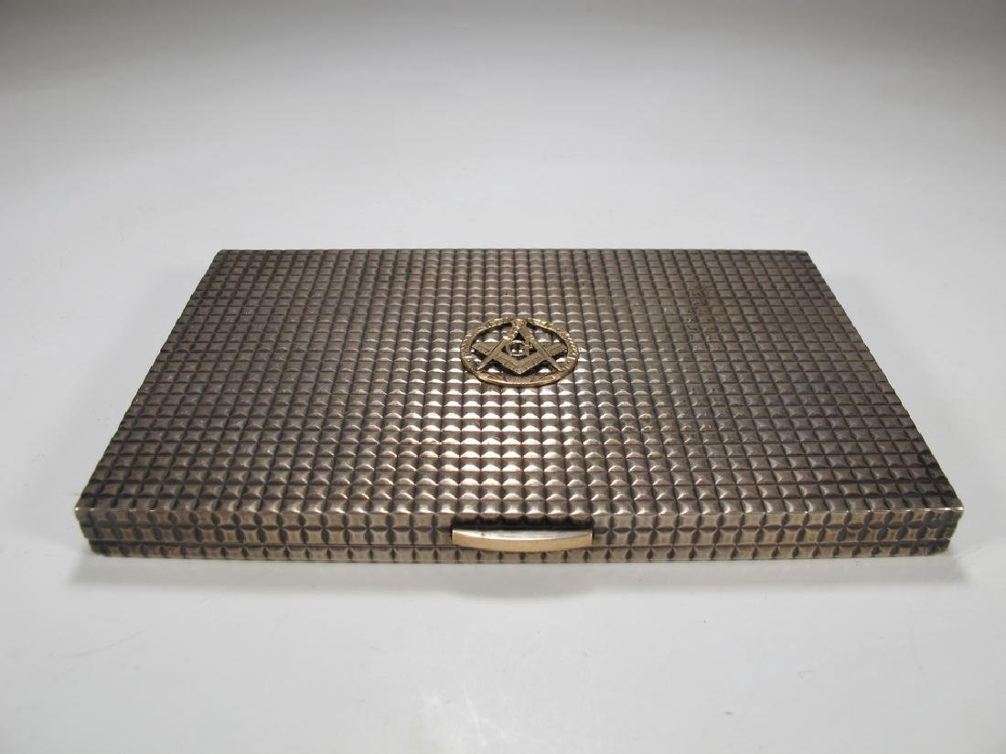 Vintage Masonic sterling cigarette box