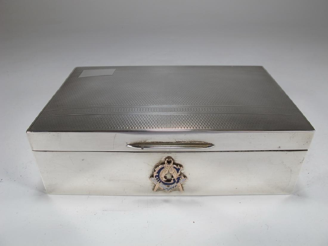 Vintage English Masonic Silver cigarette box