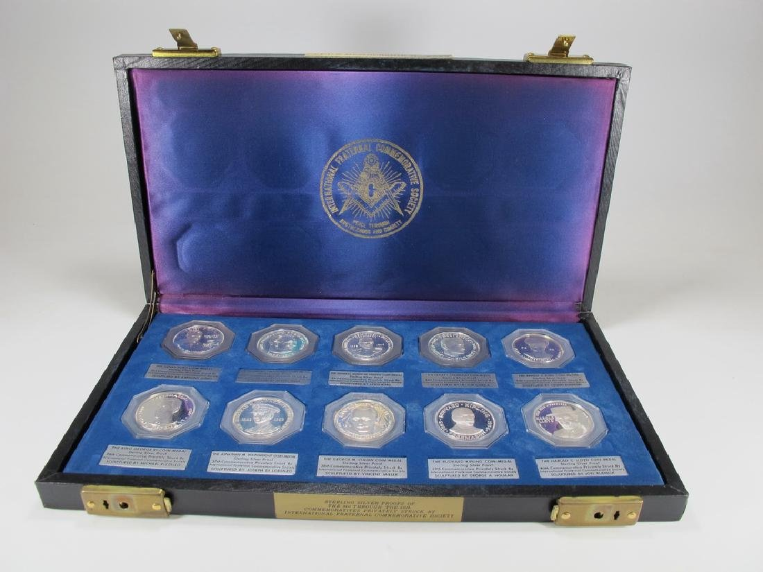 Presentation box with 10 sterling Masonic coin-medals