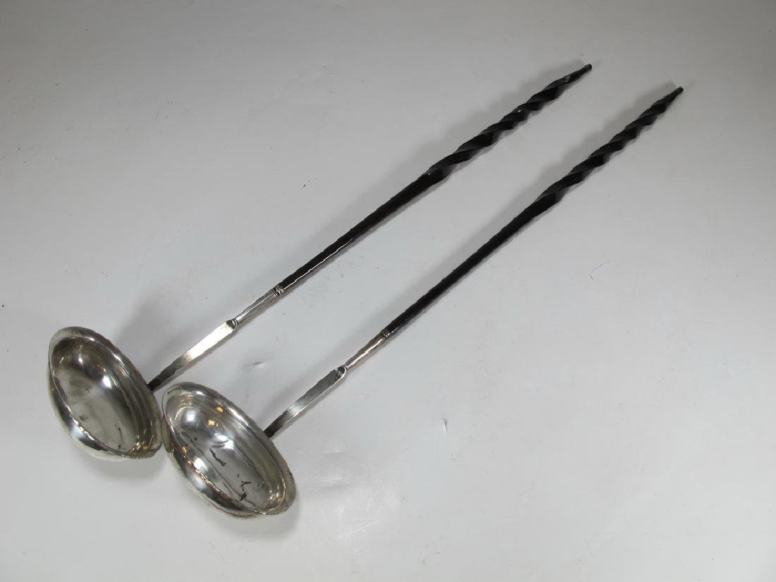Lot of 2 antique silver and whalebone punch ladles
