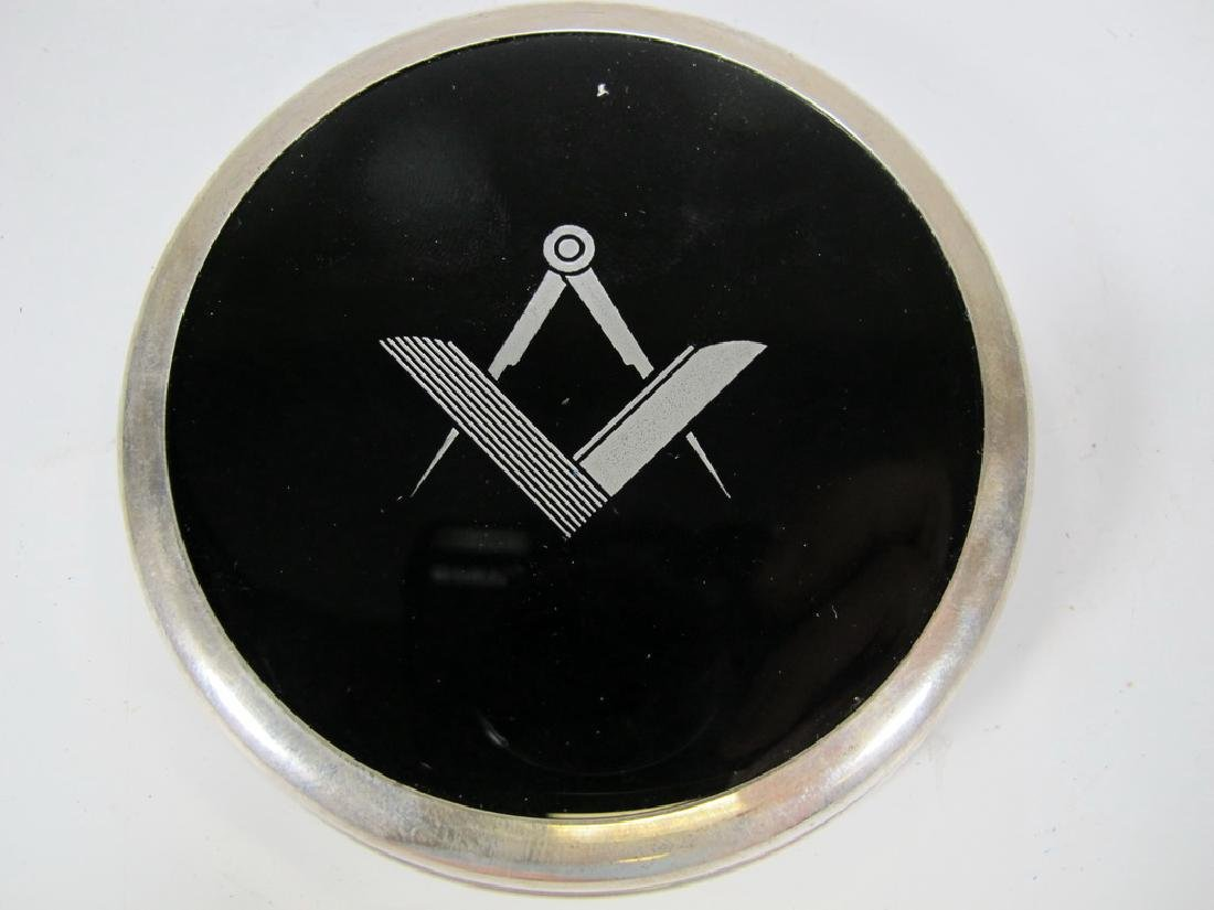Vintage Masonic sterling 925 & glass paperweight - 2