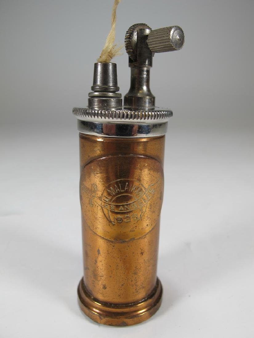 Vintage cylinder bronze & copper table lighter