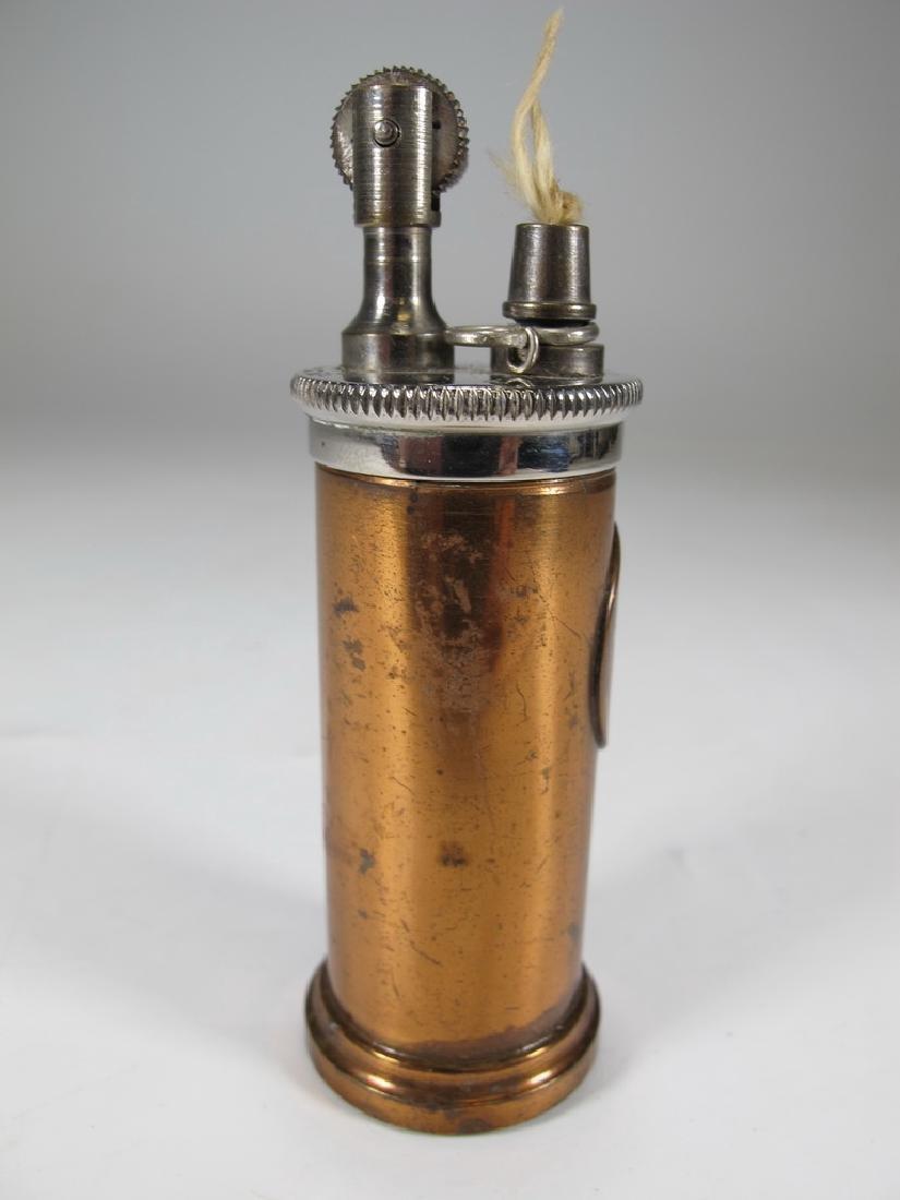 Vintage cylinder bronze & copper table lighter - 3