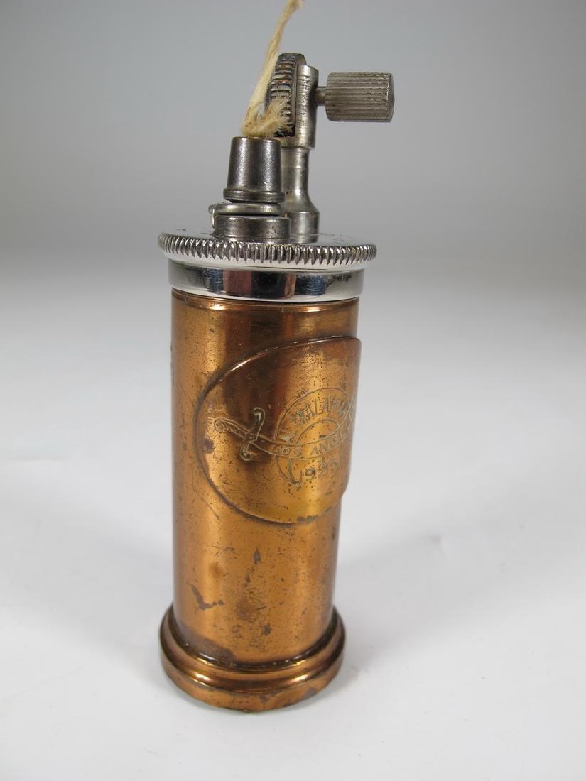 Vintage cylinder bronze & copper table lighter - 4