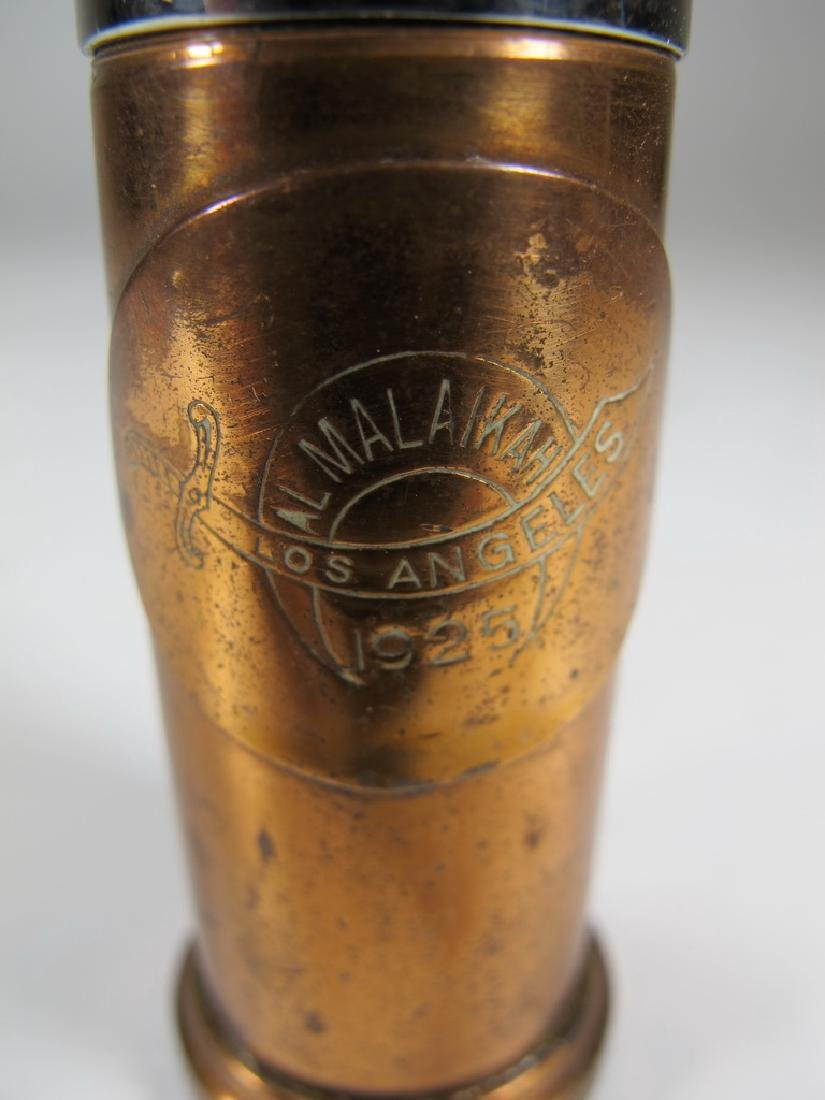 Vintage cylinder bronze & copper table lighter - 5