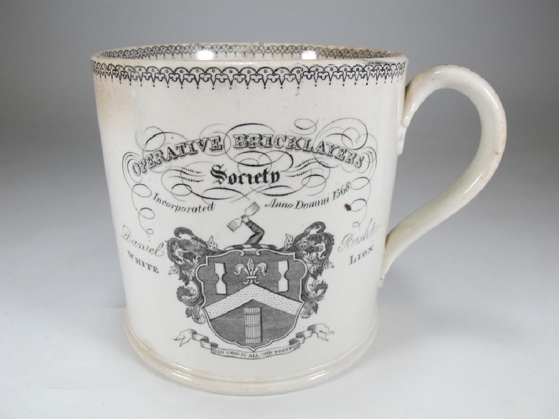 Antique English Masonic cream ware big mug