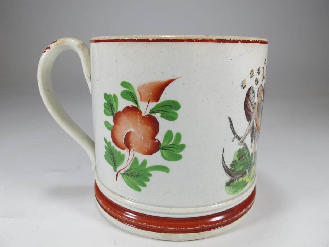 Antique English Masonic cream ware mug