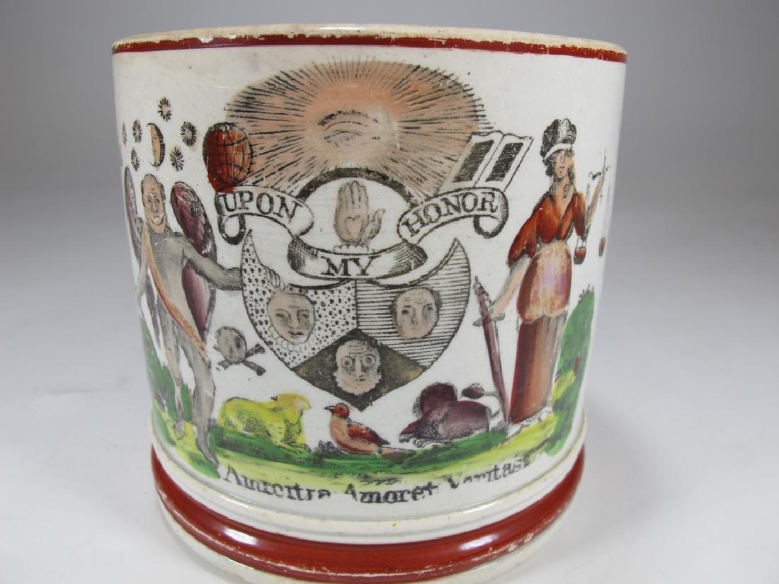 Antique English Masonic cream ware mug - 2