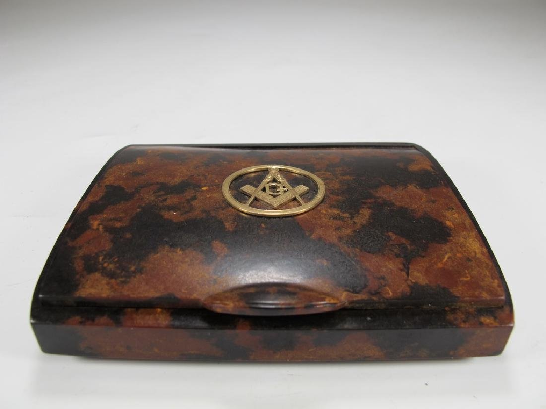 Vintage Masonic 14 k gold & probably bakelite box