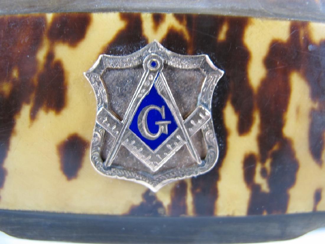 Vintage Masonic horn & 9 k gold snuff box - 2