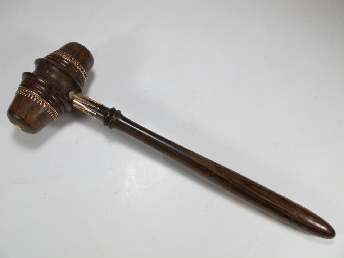 Antique wood Masonic gavel with 10K gold accents