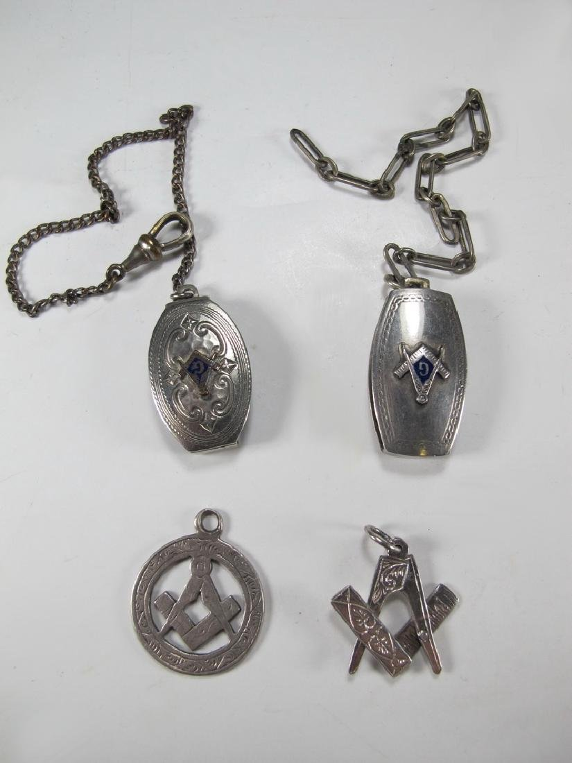 Lot of 4 Masonic sterling & metal jewels