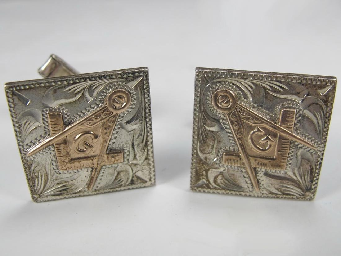 Pair of antique Masonic sterling & 10k gold cufflinks