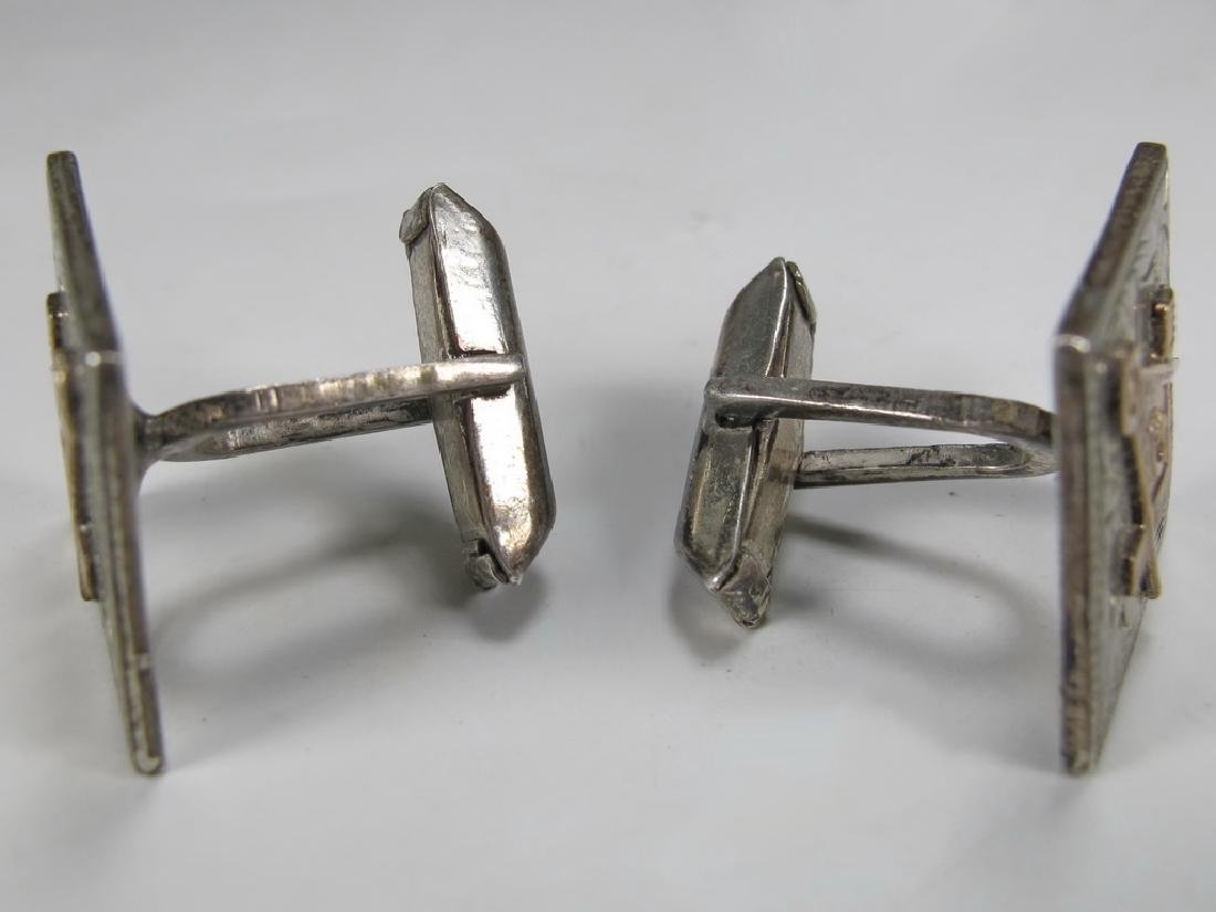 Pair of antique Masonic sterling & 10k gold cufflinks - 2