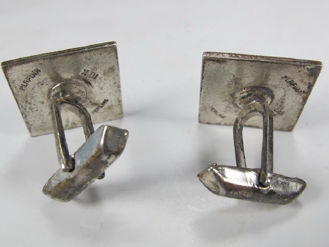 Pair of antique Masonic sterling & 10k gold cufflinks - 3