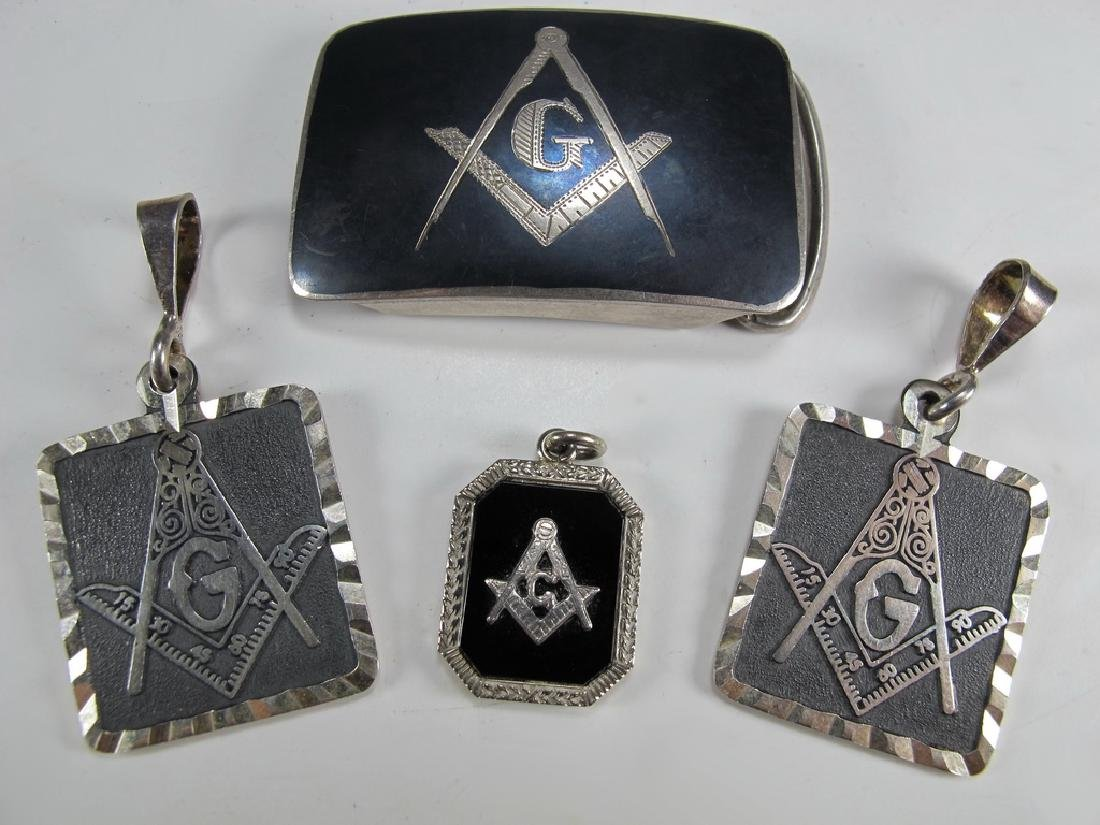 4 Masonic sterling 950 & 14 k gold pendants & buckle