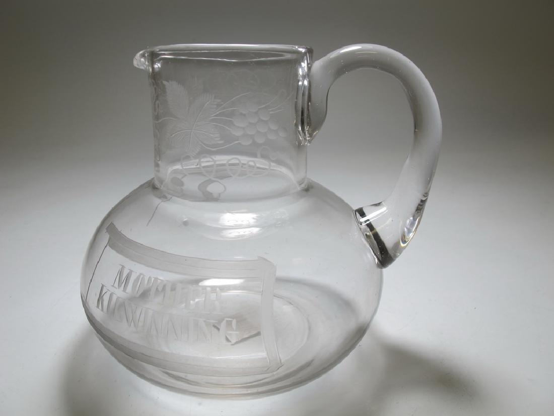 Small Masonic English glass water jug c. 1870