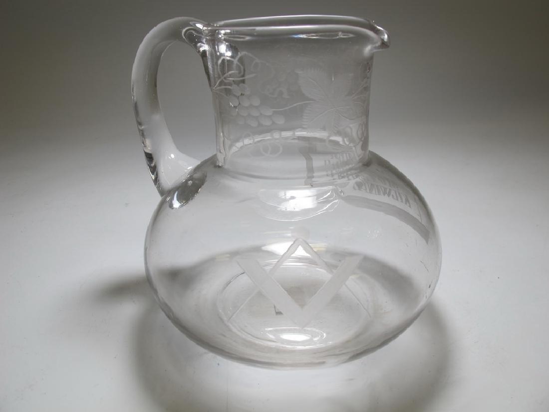 Small Masonic English glass water jug c. 1870 - 4
