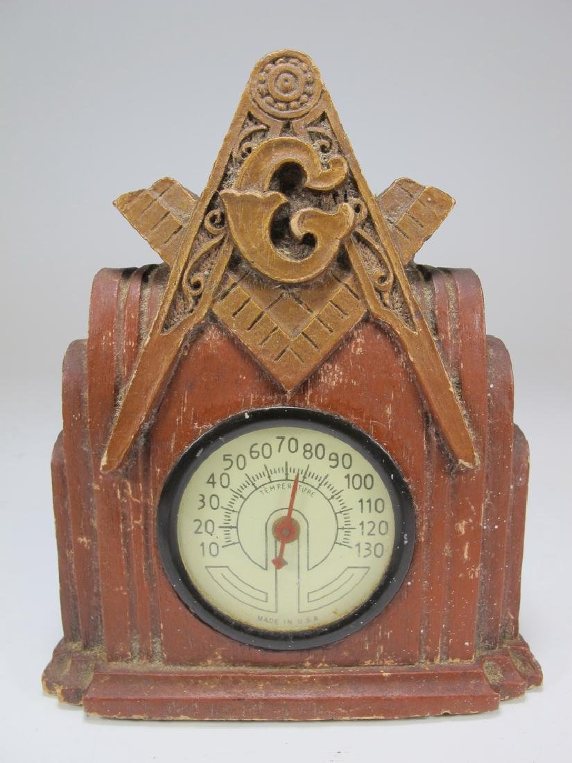Vintage Masonic thermometer with Syroco composition
