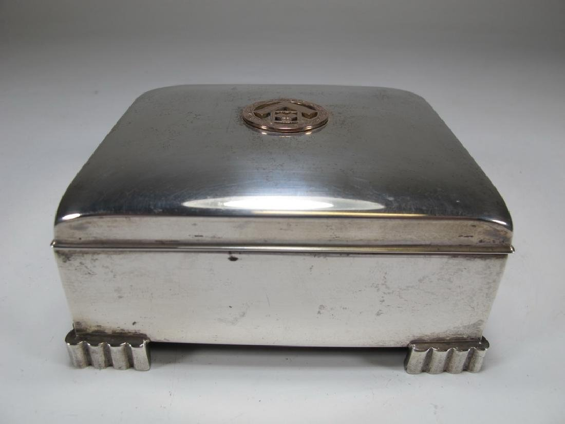 Sterling by Poole Masonic cigarette hinged lid box