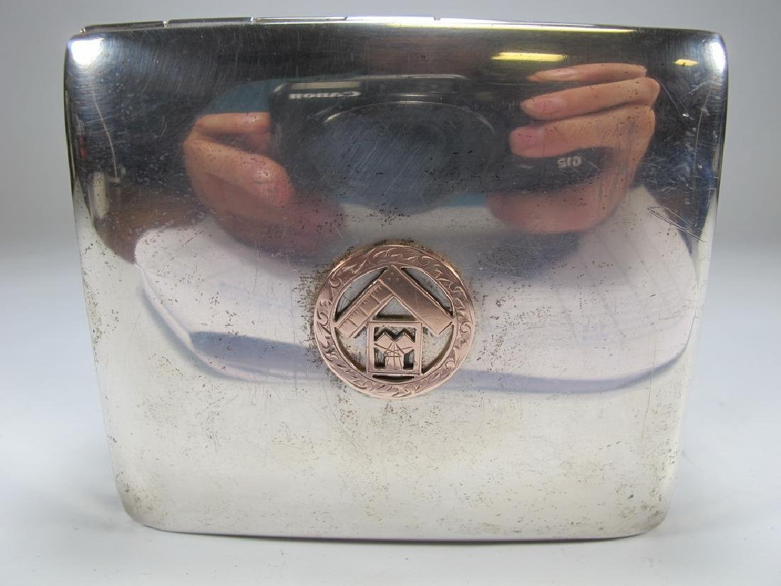 Sterling by Poole Masonic cigarette hinged lid box - 2