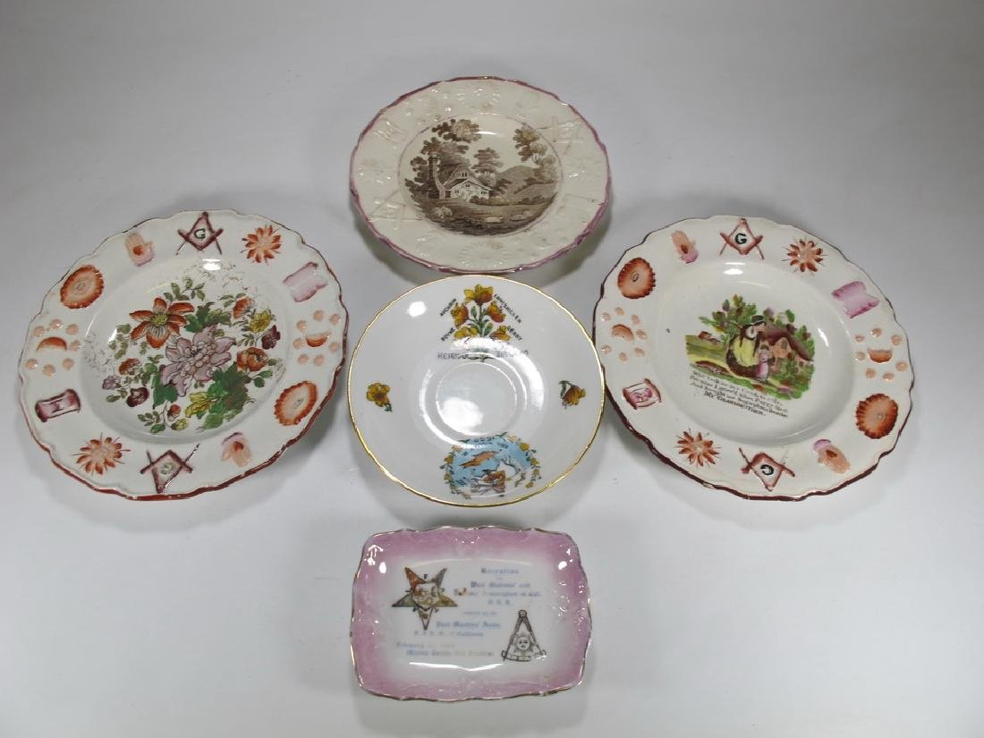 Lot of 5 assorted Masonic plates