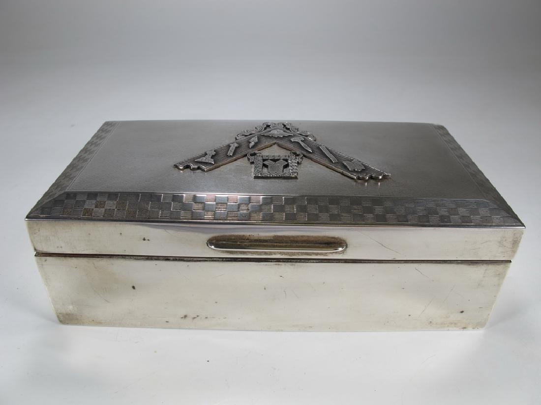 Antique Masonic English silver cigar hinged lid box