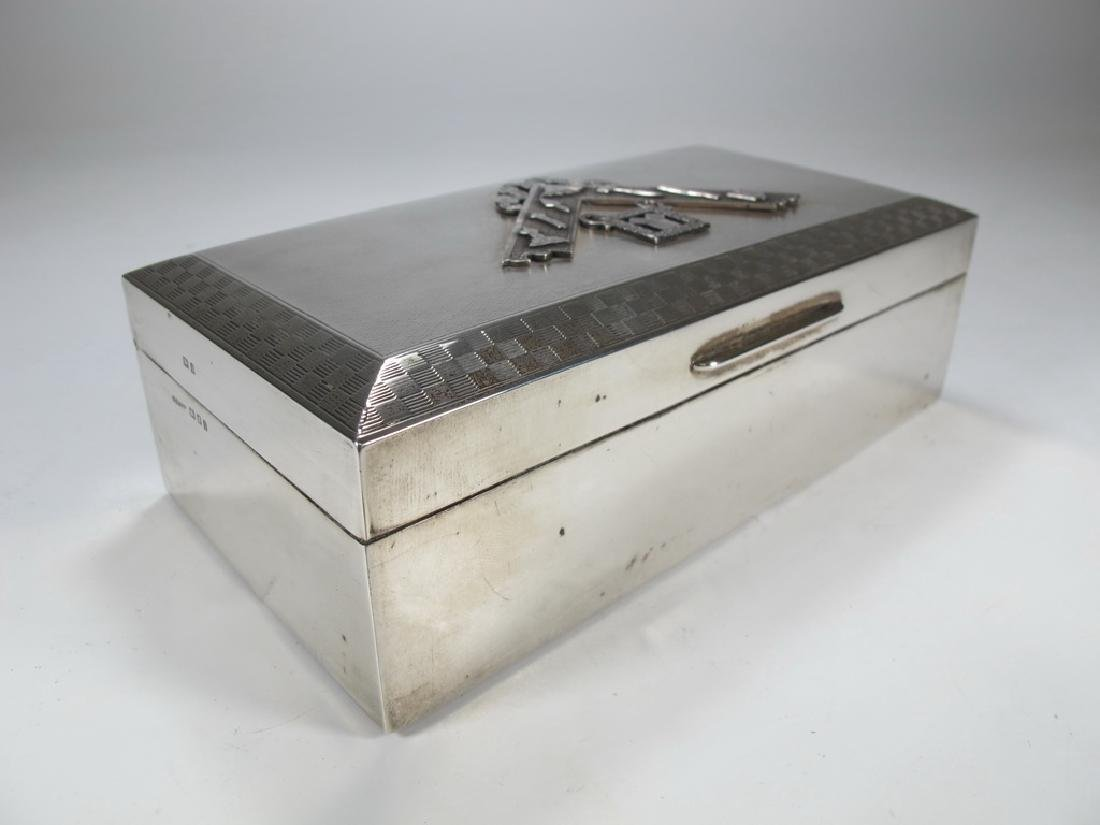 Antique Masonic English silver cigar hinged lid box - 4